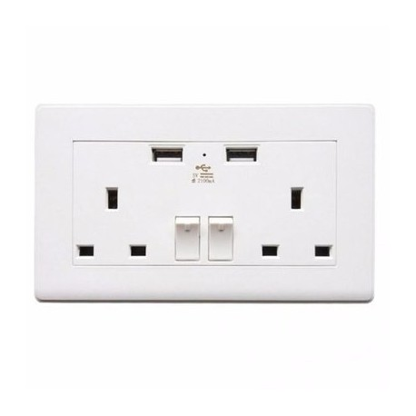Wall Socket 2 USB Plug Power Outlet Charger/2-Gang UK Electric Port Panel