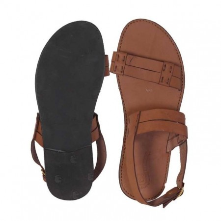 Strap Sandals With Thread Details - Brown
