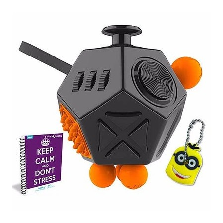 FabQuality Fidget Cube 12 Sides Anxiety Attention Toy With Minion Key Chain Gift