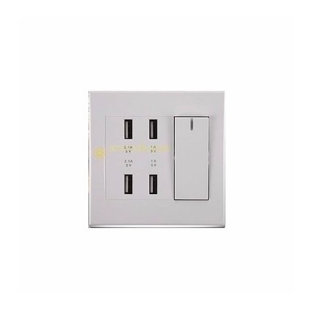 Creative 4-Port USB Wall Socket Charger AC Power Receptacle Outlet Plate Panel