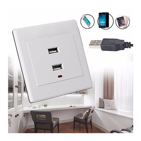 Dual USB Wall Socket AC/DC Power Adapter - White