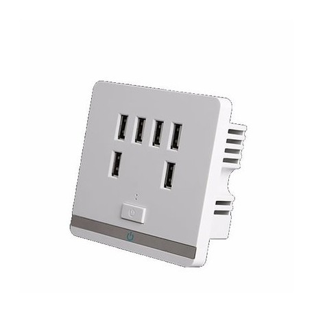 3.4A 6 Port USB Wall Charger Outlet Power Receptacle Socket Plate Panel Switch