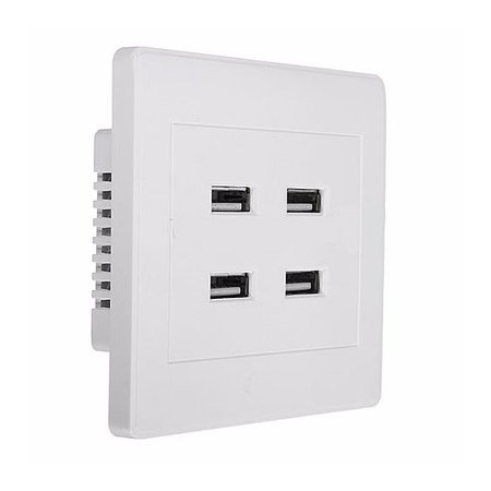 3.1A 4-Port USB Wall Charger Socket Power Receptacle Outlet Plate Panel Stations