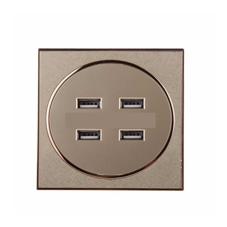 Brushed 4-USB PortsReceptacle Panel Power Wall Socket Outlet - 3.1A