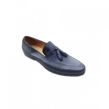 Men's Perforated Loafers Shoe - Black