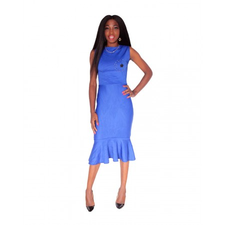 Sleeveless Peplum Midi Dress - Blue