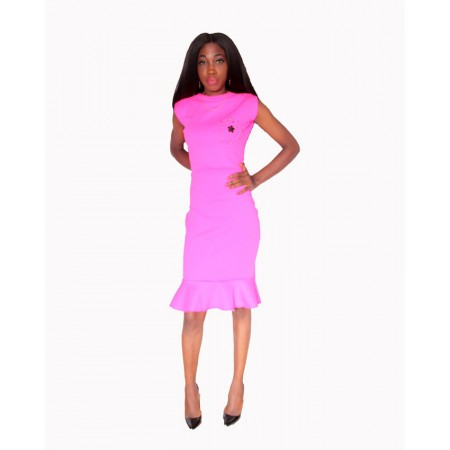 Sleeveless Peplum Midi Dress - Pink