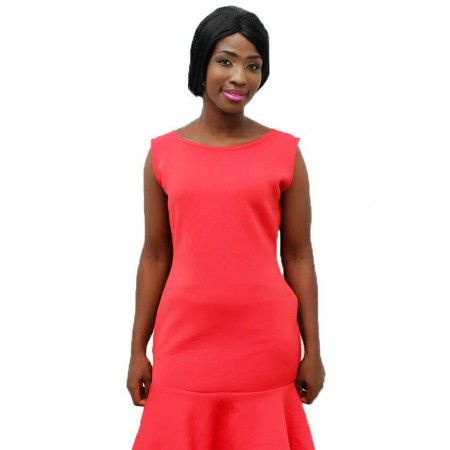 Sleeveless Peplum Midi Dress - Red