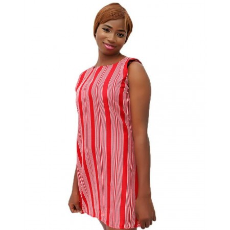 Sleeveless Striped Mini Dress - Red & White
