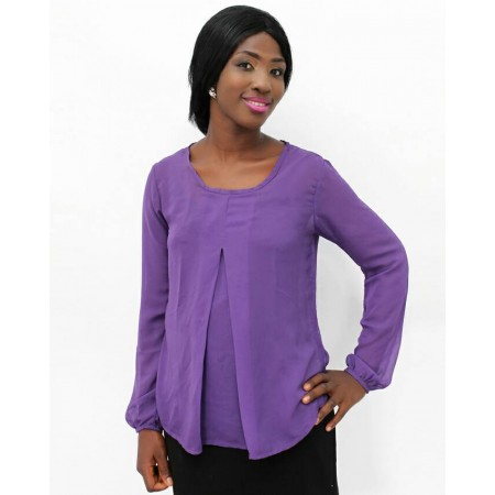Chiffon Blouse Long Sleeve  - Purple