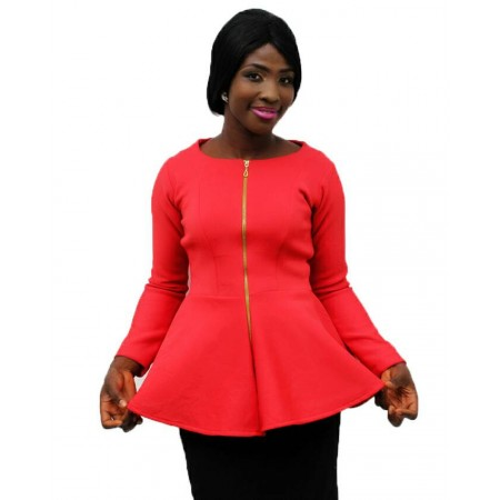Peplum Blouse Long Sleeve  - Red