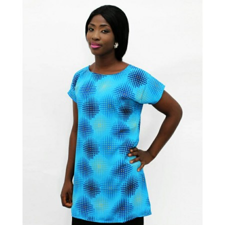 Chiffon Blouse Short Sleeve - Blue