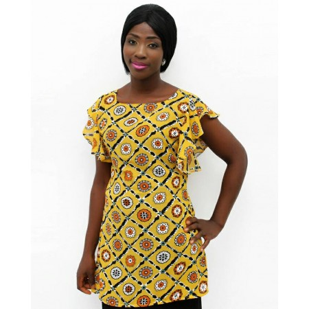 Chiffon Blouse Short Sleeve - Multicolor