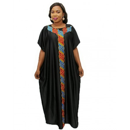 Ankara-Mix Maxi Dress - Black