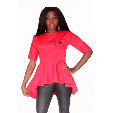 Beaded Peplum Blouse - Red