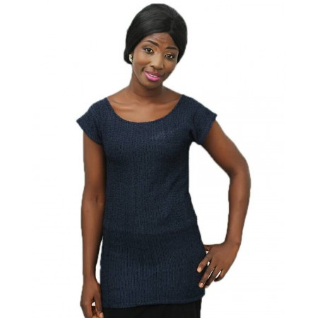 Short Sleeve Fitted Blouse - Navy Blue