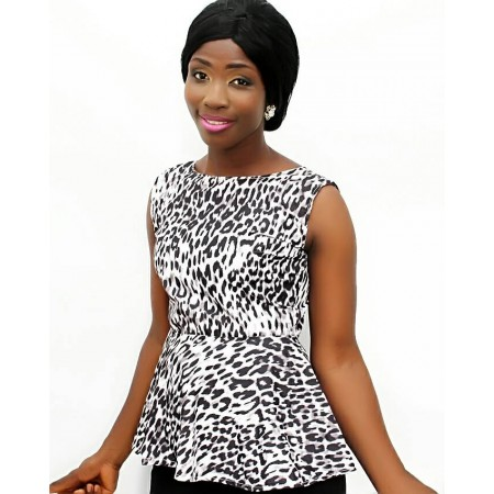 Animal Print Peplum Blouse - Black & White