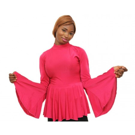 Flared Sleeve Peplum Blouse - Pink