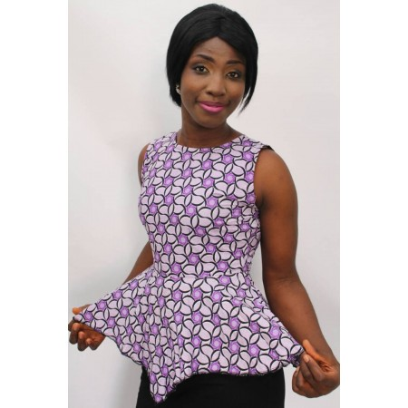 Ankara Peplum Blouse - Purple & White