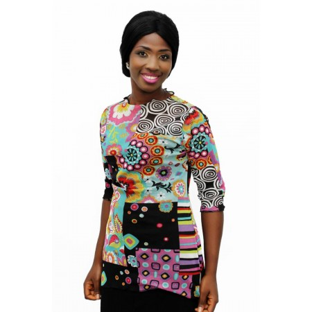 Chiffon Blouse Quarter Sleeve - Multicolor