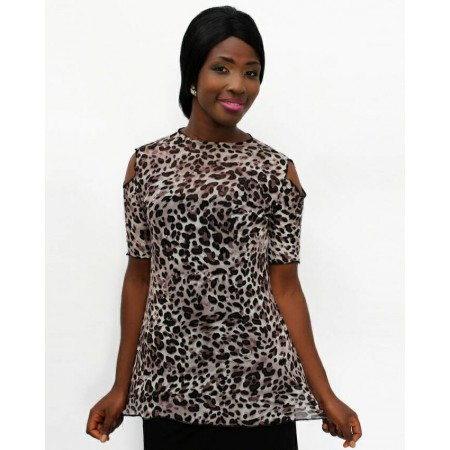 Animal-Print Chiffon Blouse Short-Sleeve