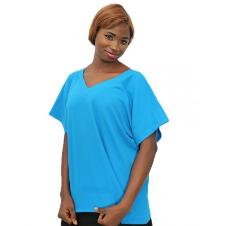 V-Neck Chiffon Blouse Short-Sleeve - Blue