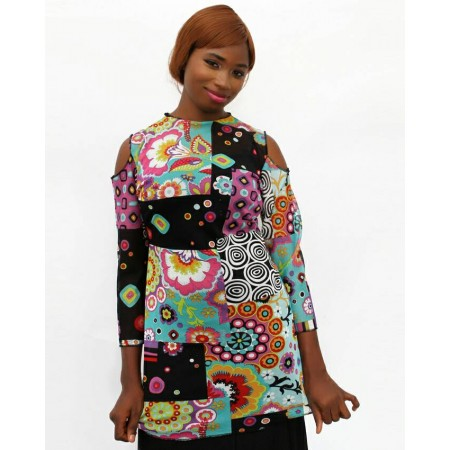 Long-Sleeve Chiffon Blouse - Multicolour
