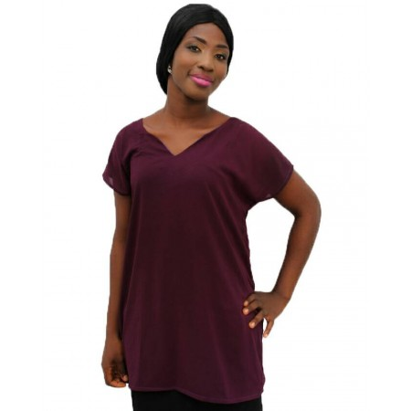 V-Neck Chiffon Blouse Short-Sleeve - Wine Red