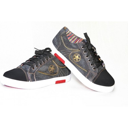 Breathable Denim Sneakers - Black