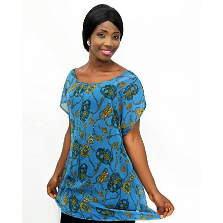 Royal Pattern Chiffon Blouse - Blue & Gold