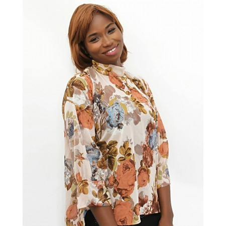 High-Low Corporate Chiffon Blouse - Brown