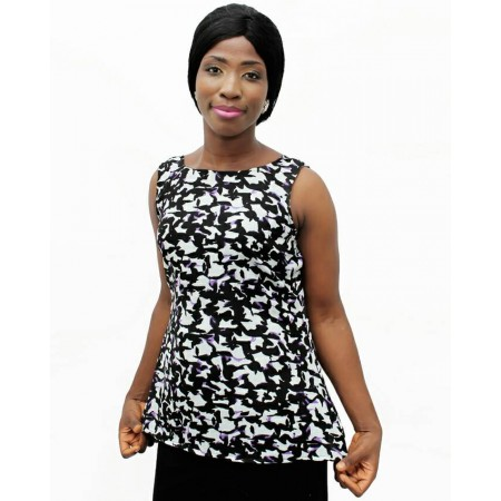 Animal Print Sleeveless Chiffon Blouse - Black & White