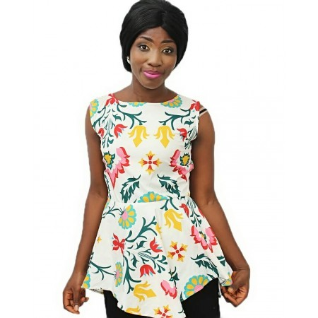 FloweryPrint Sleeveless Chiffon Blouse - Multicolour