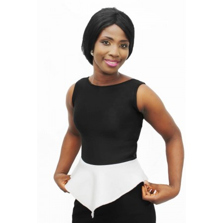 Corporate Peplum Blouse - Black & White