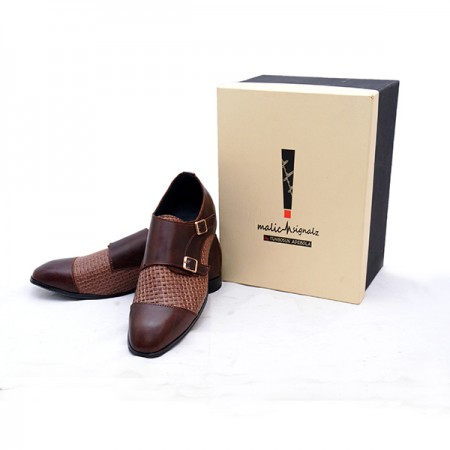 BROWN LEATHER MONKSTRAPS