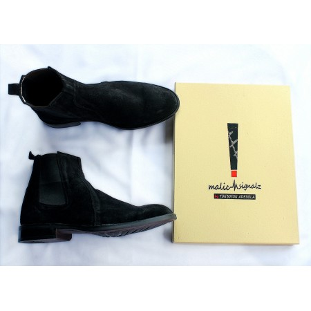 BLACK SUEDE CHELSEA BOOT SHOE