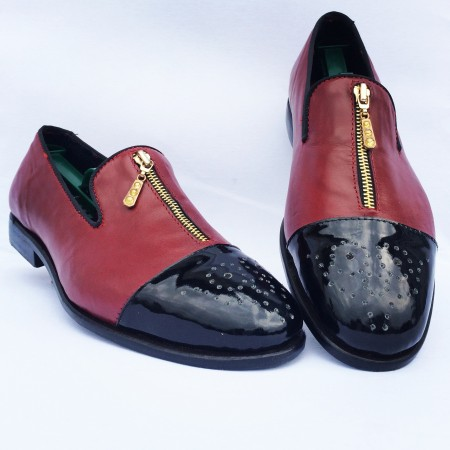 WINE LEATHER ZIPPED LOAFERS SHOE