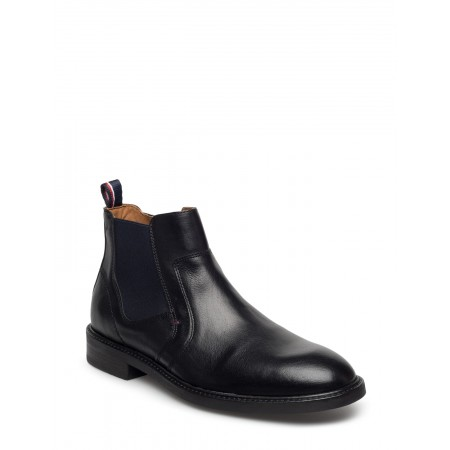 BLACK LEATHER CHELSEA BOOT SHOE