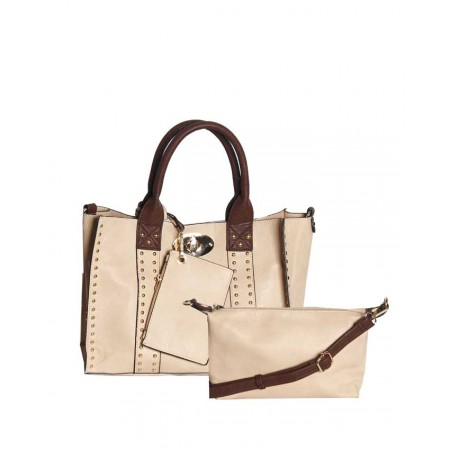 USA 3-in-1 Unique Handbag - Light Brown - Made By Handbag Republic