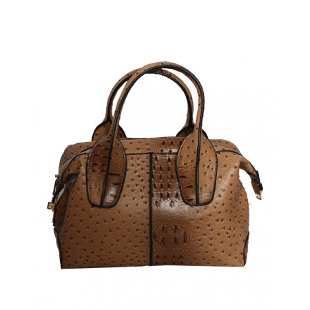 USA - HANDBAG WITH PATTERNED BODY - COFFEE BROWN- HANDBAG REPUBLIC