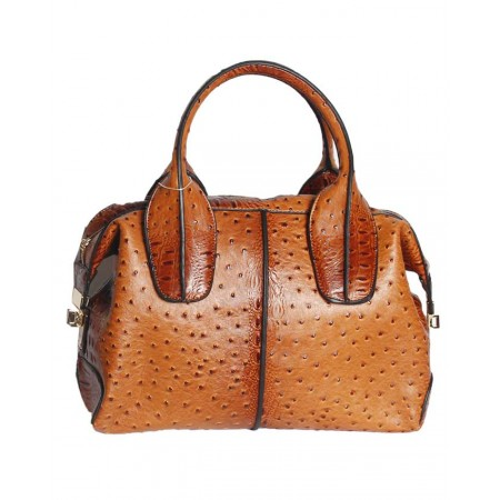 USA - HANDBAG WITH PATTERNED BODY - BROWN- HANDBAG REPUBLIC