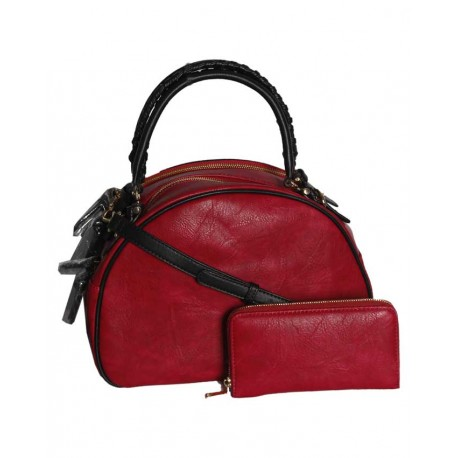 Made In The USA 2-in-1 Unique Handbag - Wine Red